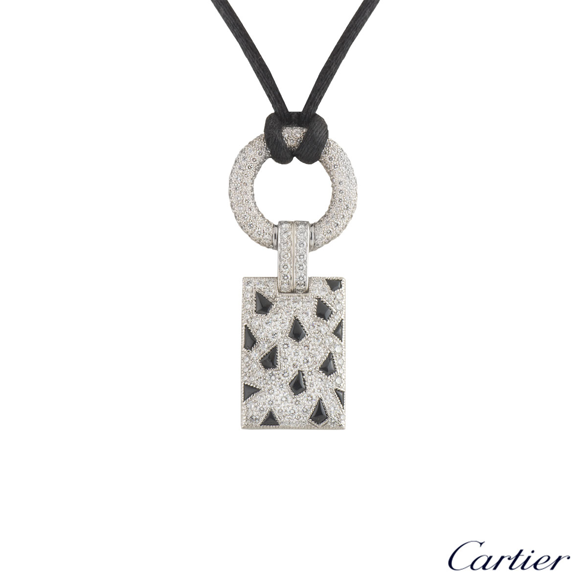 Cartier White Gold Diamond and Onyx Panthere Necklace
